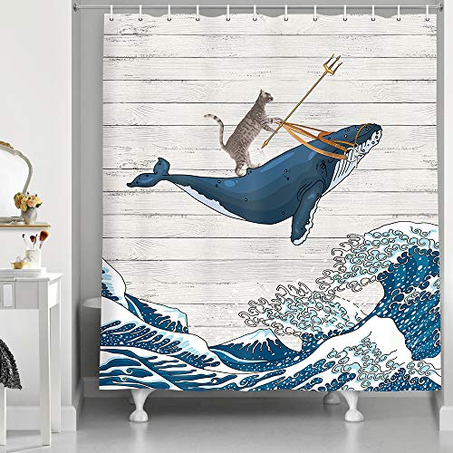 Funny Cat Shower Curtain, Cat Riding Whale in Ocean Wave on Vintage...