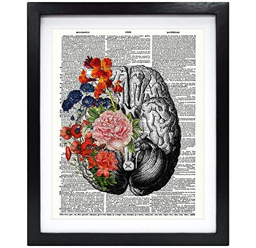 Susie Arts 8X10 Unframed Human Brain with Flowers Springtime...