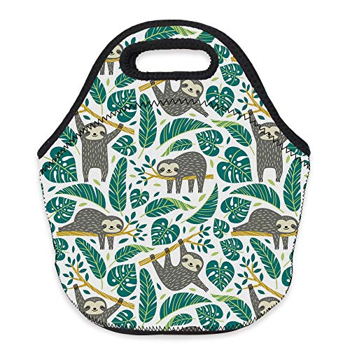 Neoprene Lunch Bag, Loomiloo Printed Insulated Lunch Box School Picnic Thermal Carrying Gourmet Food Container Organizer, Lunch Bags for Kids, Girls, Boys and Women(sloth L73139)