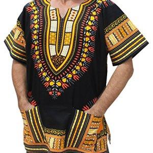 RaanPahMuang Plus Big Size Shirt Bright Africa Black Dashiki Cotton Broad Maxi