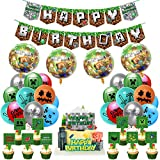 Pixel Miner Crafting Style Gamer Party Supplies,minecraft birthday party supplies Includes Cake Topper Cupcake Toppers, Pixel Banner,Pixel Miner Balloons for Gamer Birthday Party Decor