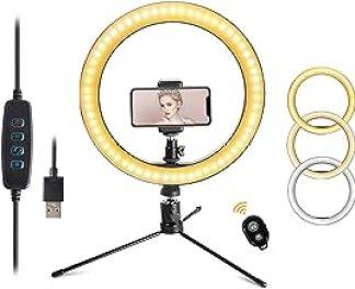 "Sponsored Ad - LED 10.2"" Desktop Selfie Ring Light with Tripod Stand & Remote Control &10 Brightness Level & 3 Light Modes..."