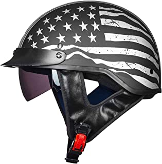 ILM Half Helmet Motorcycle Open Face Sun Visor Quick Release Buckle DOT Approved Cycling..