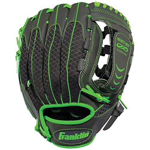 Franklin Sports Teeball Infinite Web/Shok-Sorb Combo Series Fielding Left Hand Glove, 10.5-Inch, Graphite/Lime