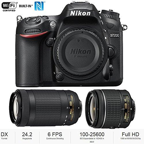 Nikon D7200 DX 24.2MP Digital SLR Camera Body with WiFi NFC + Dual Lens AF-P (18-55mm + 70-300mm) Bundle - (Renewed)