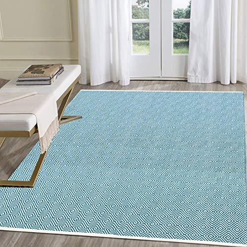 Pauwer - Tappetino in cotone, lavabile in lavatrice, reversibile, tappeto per interni, tessuto a mano, per soggiorno, camera da letto, lavanderia, ingresso