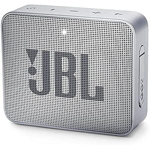 JBL GO 2 Speaker Bluetooth Portatile, Cassa Altoparlante Bluetooth Waterproof IPX7, Con Microfono, Funzione di Noise Cancelling, Fino a 5h di Autonomia, Grigio