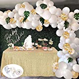 SPECOOL 113Pcs Balloon Garland Kit Balloon Arch Kit Blanc Et Or Confettis...