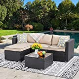 Walsunny Outdoor Furniture Patio Sets,Low Back All-Weather Small Rattan Sectional Sofa with Tea Table&Washable Couch Cushions&Upgrade Wicker(Black Rattan) (3-Piece) (Khaki)