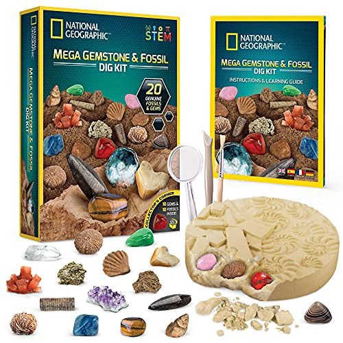 NATIONAL GEOGRAPHIC Mega Fossil and Gemstone Dig Kits -...