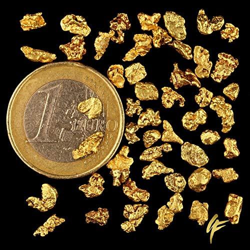 1 grammi di vero pepite d'oro XL con 20 - 23 carati in alaska con certificato di autenticità. Dimensione per Nugget 4 - 8 mm