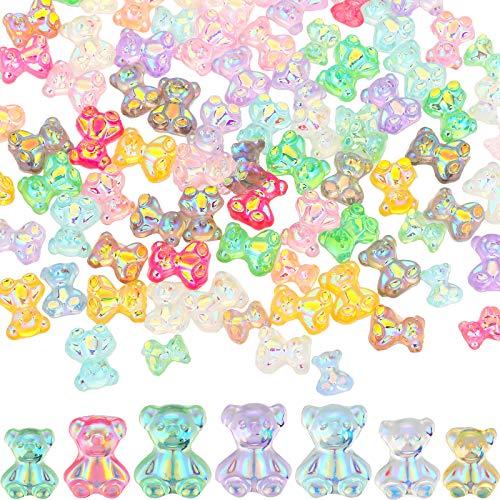 Landhoow 240 Pieces Resin Bear Nail Art Decorations Gradient 3D Gummy DIY Bear Charms Cute Bear Nail Ornaments for Nail Art Design Manicure Tips Decor, 3 Sizes
