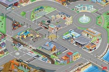Le Toy Van - Cars & Construction Children's Town City Roads 3D Design Educational Car Playmat For Kids | Medium Sized - 120 x 80 cm