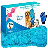 Awesome Pet Goodies Microfibre Dog Drying Towel Chenille, Absorbent Quick Pet Drying, Bundle with Pet Glove for Easy Hair Combing, Machine Washable Pet Bathrobe for Puppy Cats 80x35cm Blue