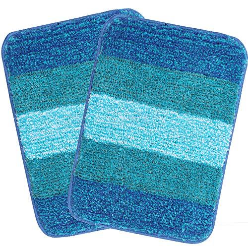 Saral Home Turquoise Soft Microfiber Anti-Skid Bath Mat (Pack of 2, 35x50 cm)