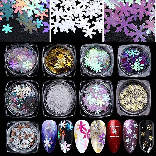 750 PCS / 9 Boxes Snowflake Sequins for Nail Christmas nail snowflakes glitter nail sequins -3d nail art snowflakes Confetti for Xmas Party Fingernail Toenail Nail Decor Gold and Multicolor