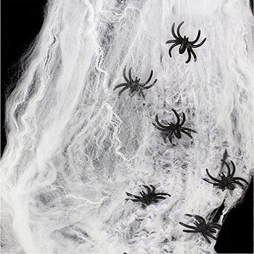 HOTSAN Decoraciones de Halloween de telaraña Estirable: telaraña de araña Espeluznante para Interiores con 25 arañas Falsas, telaraña de araña para Decoraciones de Fiesta de Halloween