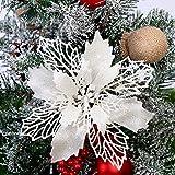 GL-Turelifes - Paquete de 12 flores de Pascua artificiales con purpurina para rbol de Navidad, corona de Navidad, adornos, flores de 16 cm de dimetro, 12 cuerdas suaves de color verde