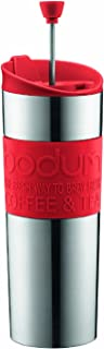 Bodum Travel Press Coffee and Tea Press, Stainless Steel Insulated Travel Press, 15 Ounce, Red