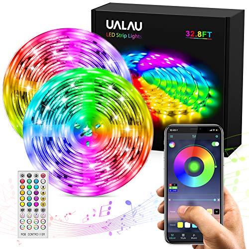 UALAU Striscia LED 10M, RGB Luci LED con Controllo App e Telecomando, Sincronizza con la Musica Strisce LED RGB con 300 LEDs 5050 SMD Striscia LED per Decorazioni, Cucina, Bar, Festa