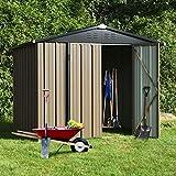 8' x 6' Outdoor Metal Storage Shed, Steel Utility Tool Storage House with Double Door & Lock, for Backyard Garden Patio Lawn Mower Bike Storage