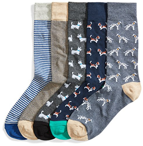 Goodthreads 5-Pack Patterned Socks Calze, Multicolore (Assorted Dogs), Large Taglia Produttore Shoe Size 8-12, Pacco da 5
