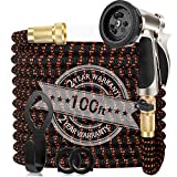 WGCC Expandable Garden Hose, 100ft Heavy-Duty [4 Layers Latex] 5-in-1 Water Gardening Hose with 9 Function Alloy Sprayer Nozzle - No Kink Flexible Water Hose with 3/4' Solid Brass Fittings
