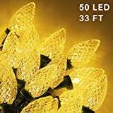 Twinkle Star C9 Christmas String Lights, 50 LED 33ft Outdoor Fairy Lights with 29V Safe Adaptor, Extendable Green Wire String Lights for Patio Xmas Tree Wedding Party Decoration, Warm White