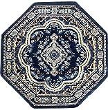 emirates Traditional Persian Octagon Rug Dark Blue Light Blue Brown Grey Design 520 (4 Feet X 4 Feet)