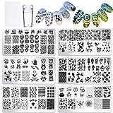PHOGARY Nail Art Stamping [Actualizado] Estampacion Uñas 6 Placas de Stamping + 1 Sello de Silicona...