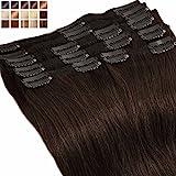Extensiones de cabello humano con clips, 25-55cm –8mechas/18clips–Maxi volumen,...