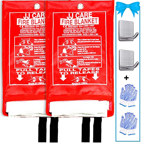 JJ CARE Fire Blanket for Home 40'x40' + 2 Hooks & 2 Gloves, Fire...