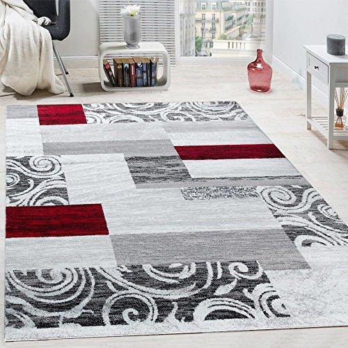Paco Home Tappeto di Design per Salotto Arredamento Interno Tappeto mlange Rosso Grigio,...