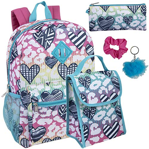 Trail maker di 6 in 1 zaino set con il sacchetto del pranzo, astuccio, bottiglia, portachiavi, clip (groovy hearts) ragazza