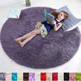 Purple Gray Rug for Bedroom,Fluffy Circle Rug 4'X4' for Kids Room,Furry Carpet for Teen's Room,Shaggy Throw Rug for Nursery Room,Fuzzy Plush Rug for Dorm,Grey Carpet,Cute Room Decor for Baby