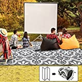 ALFOLO Outdoor Rug 9x12Ft,Plastic Straw Large Outdoor Area Rug,Large Grey Rug,Waterproof Material Outdoor Rug 9x12 for Patios Clearance,Rv Rug,Gray Camper Outdoor Rug with Webbing Edging at 4 Sides