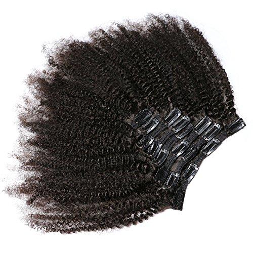 KeLang Hair African American Afro Kinky Curly Clip In Human Hair Extensions Brazilian Virgin Hair Natural Color 4B 4C Afro Kinky Curly Clip Ins 14inch 7pcs/lot,120gram/set