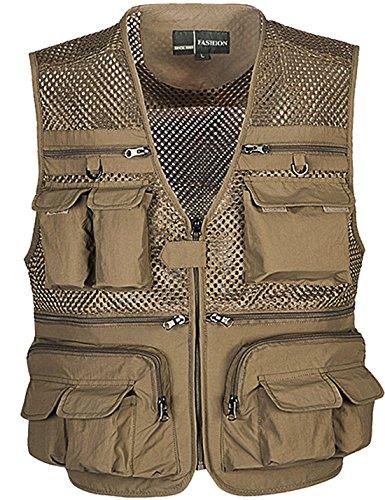 Zhusheng Men's Mesh 16 Pockets Photography Fishing Travel Outdoor Quick Dry Vest Breathable Waistcoat Jackets (Large, Khaki)
