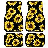 JoyLamoria Universal Fit Front/Rear Auto Floor Mats 4-Pcs Full Set Car Carpet Floor Mats Sunflower Print Carpet for Sedans Coupes SUV Truck