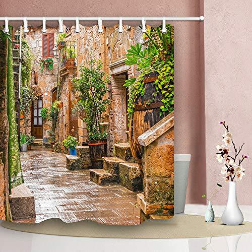 taquxinlaowan Centro Storico Pitigliano Toscana Doccia Bagno Tessuto per Tende 12 Ganci 71 * 71 Pollici