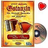 1000 beliebte Gstanzln - 10 verschiedene Gstanzlformen, welche in Griffschrift für die Steirische Harmonika und in Notenschrift für Akkordeon - Notenbuch mit CD und bunter herzförmiger Notenklammer