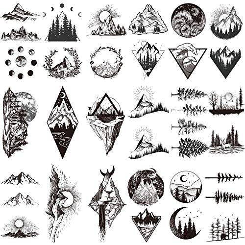 22 Sheets Mountain Temporary Tattoos Stickers, Including...