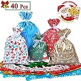 Omew Sacs Cadeaux Noël Lot de 40 Grands Sacs Emballage Cadeaux avec des Liens...