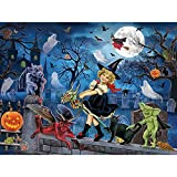 Bits and Pieces - 300 Piece Jigsaw Puzzle for Adults 18' X 24' - Littlest Witch's Halloween Party - 300 pc Haunted House Halloween Trick or Treat Jigsaw by Artist Rosiland Solomon