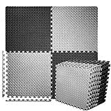BEAUTYOVO Puzzle Exercise Mat with 12 Tiles Interlocking Foam Gym Mats, 24'' x 24'' EVA Foam Floor Tiles, Protective Flooring Mats Interlocking for Gym Equipment, Black/Gray