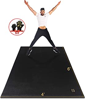 Gxmmat Large Exercise Mat 6'x4'x7mm, Thick Workout Mats for Home Gym Flooring, Extra Wide Non-Slip Durable Cardio Mat, High Density, Shoe Friendly,Perfect for Plyo, MMA, JumpRope,Stretch,Fitness