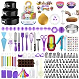 Cake Decorating Supplies Kit 407pcs, Baking Tools Set for Cakes – 3 Packs Springform Cake Pans Cake Rotating Turntable 48 Numbered Piping Icing Tips 4 Russian Nozzles 8 Fondant Tools for Beginners