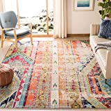 Safavieh Monaco Collection MNC222F Modern Bohemian Distressed Area Rug, 5' 1' x 7' 7', Multi