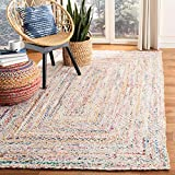 Safavieh Braided Collection BRD210B Handwoven Ivory and Multicolored Area Rug (4' x 6')