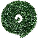 Aneco - Guirnalda de Navidad artificial de pino verde, guirnaldas navideñas, decoración para...